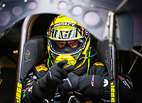 Apr 21, 2018; Baytown, TX, USA; NHRA funny car driver Matt Hagan during qualifying for the Springnationals at Royal Purple Raceway. Mandatory Credit: Mark J. Rebilas-USA TODAY Sports