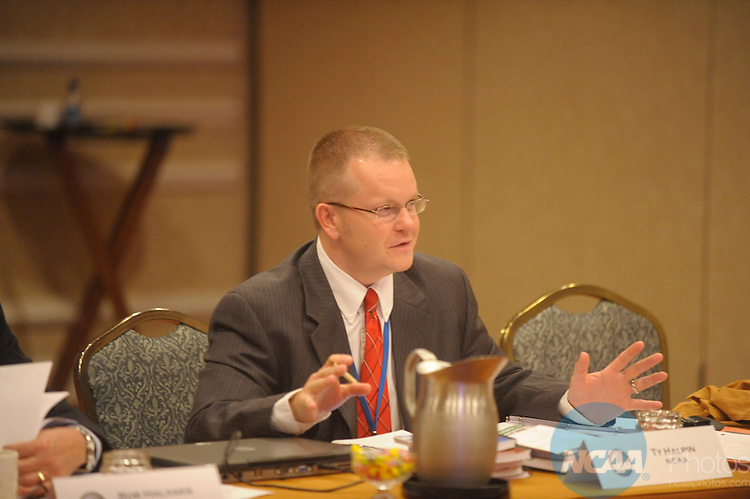 10 JAN 2008:  Staff and delegates participated in the Playing Rules Oversight Panel at the 2008 NCAA Convention held at the Gaylord Palms Opryland Resort and Convention Center in Nashville, TN. Stephen Nowland/NCAA Photos.Pictured: Ty Halpin - NCAA