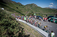 peloton crossing the Basque Country up the Col d'Ispeguy (8.1km @6.3%) that is on the actual border between France & Spain<br /> <br /> Stage 11: Saint-Palais to Urdax-Dantxarinea (180km in The Basque Country > FRA & ESP) <br /> La Vuelta 2019<br /> <br /> ©kramon