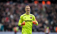 Goalkeeper Joe Hart of West Ham United celebrates the 3rd goal during the EPL - Premier League match between West Ham United and Southampton at the Olympic Park, London, England on 31 March 2018. Photo by Andy Rowland.