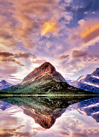 Sunset on Swiftcurrent Lake with Mount Wilbur. Glacier National Park, Montana.