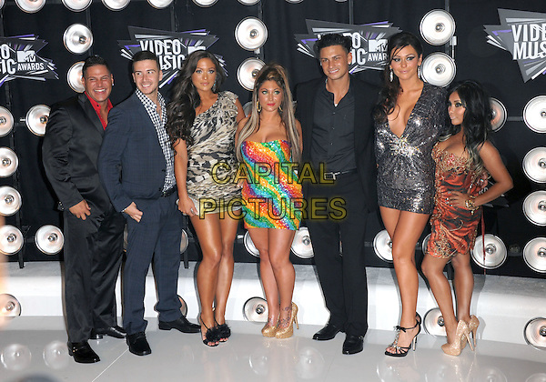 "The Cast of The Jersey Shore - Vinny Guadagnino, Nicole ""Snooki"" Polizzi, Ronnie Ortiz-Magro, Sammi ""Sweetheart"" Giancola, Deena Nicole Cortese, DJ Pauly D, and Jenny ""JWoww"" Farley. .Arrivals at the 2011 MTV Video Music Awards held at Nokia Theatre L.A. Live in Los Angeles, California, USA..28th August 2011.full length silver dress hand on hip sequins sequined low cut plunging neckline cleavage strapless rainbow orange leopard print suit.CAP/RKE/DVS.©DVS/RockinExposures/Capital Pictures."