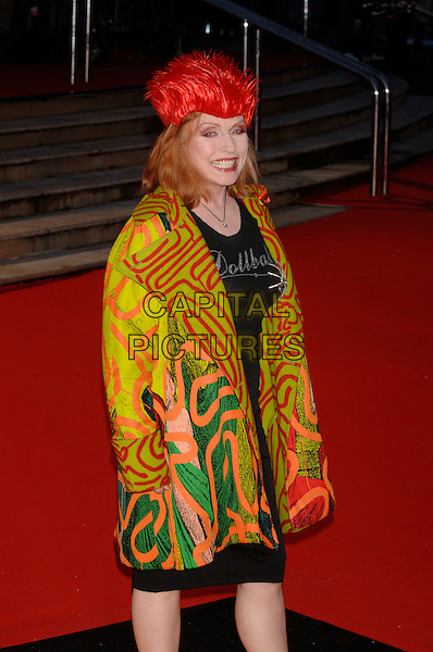 DEBBIE HARRY.The Brit Awards 2006 - Arrivals,.Earls Court, London, England,.15 February 2006..half length red hat multi-coloured top shirt earl's pop music brits.Ref: PL.www.capitalpictures.com.sales@capitalpictures.com.©Phil Loftus/Capital Pictures.