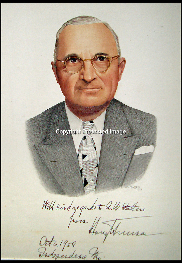 BNPS.co.uk (01202) 558833<br /> Picture: Alex Statters<br /> <br /> Harry Truman - 1958<br /> <br /> A collection of portraits by an amateur artist who sent his paintings to famous subjects for them to sign has been unearthed. Self-taught Alex Statters spent nearly 40 years at his hobby, painting the great and important figures from photographs then trying to get them signed. The painter often had to wait as long as a year to get a reply. Statters was born in the early 1890s and after a working life in Newcastle settled in Southport, Merseyside. It is thought he died in the early 1960s. The collection has passed down through his family to his grandchildren who until recently were only aware of a few of the portraits that were hung in the family home.