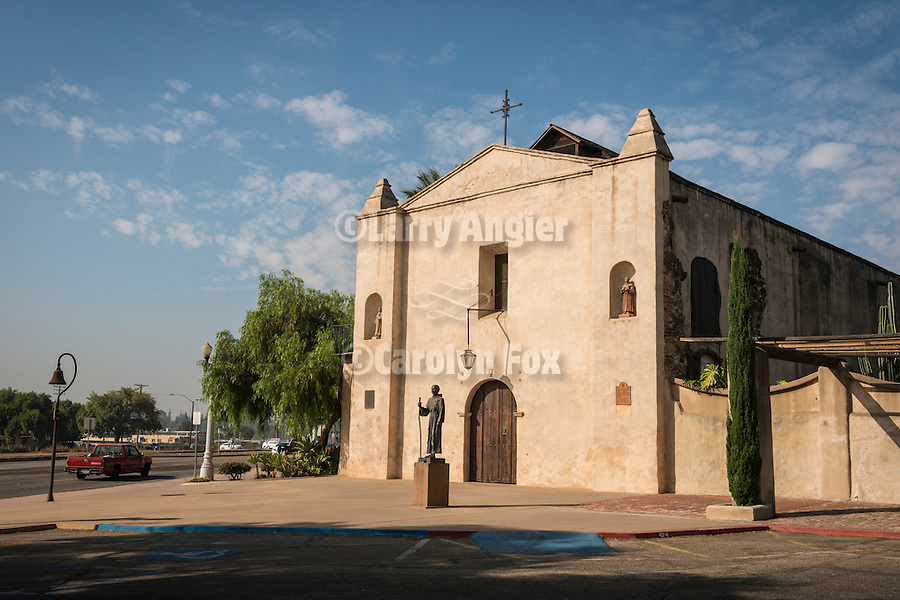 Original chapel entrance, Mission San Gabriel Arcángel, forth of the 21 California Missions and founded by Father Junipero Serra, September 8, 1771.