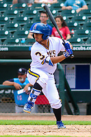 Iowa Cubs second baseman Christian Donahue (3) at bat during a Pacific Coast League game against the Colorado Springs Sky Sox on June 23, 2018 at Principal Park in Des Moines, Iowa. Colorado Springs defeated Iowa 4-2. (Brad Krause/Four Seam Images)