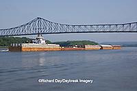 63895-13116 Barge under bridge on Mississippi River at Savanna, IL