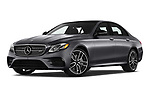 Stock pictures of low aggressive front three quarter view of 2019 Mercedes Benz E-Class AMG-E53 4 Door Sedan Low Aggressive