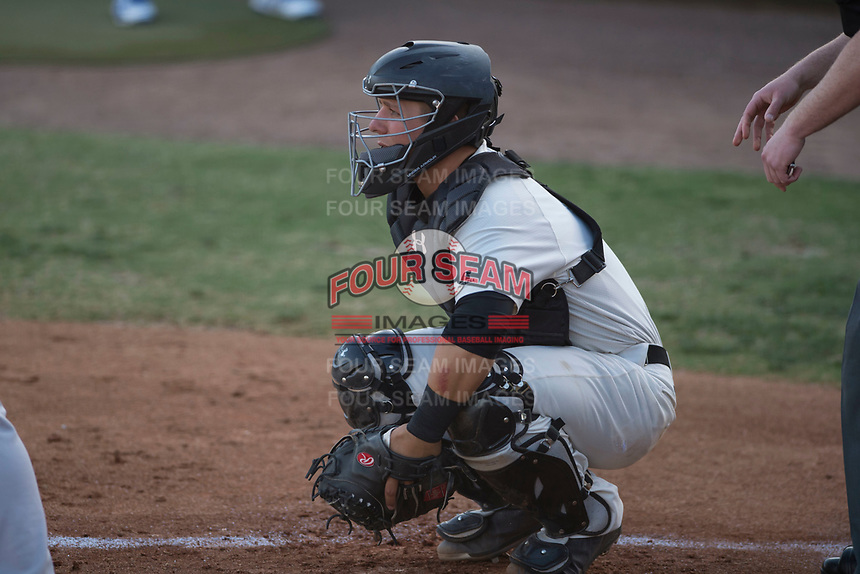 Visalia Rawhide catcher Daulton Varsho (9) during a California League game against the Stockton Ports at Visalia Recreation Ballpark on May 8, 2018 in Visalia, California. Stockton defeated Visalia 6-2. (Zachary Lucy/Four Seam Images)