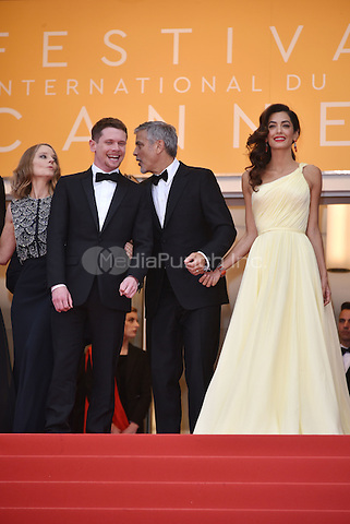 Jack O'Connell, George Clooney, Amal Clooney at Money Monster screening during the 69th International Cannes Film Festival, France May 12, 2016.<br /> CAP/PL<br /> &copy;Phil Loftus/Capital Pictures /MediaPunch ***NORTH AND SOUTH AMERICA ONLY***