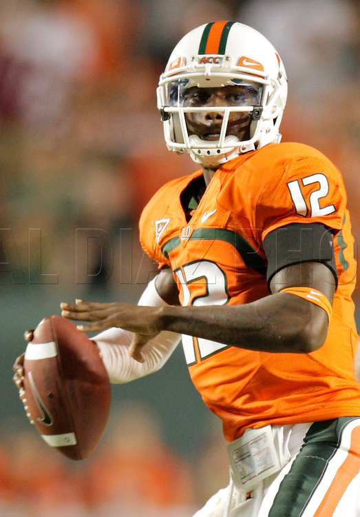 Miami's quarterback Jacory Harris sets up to pass in the fourth quarter during the University of Miami vs Florida State University on Saturday October 9, 2010.
