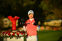 The 2018 Kia Classic Champion Eun-Hee Ji (KOR) on the 18th green for the trophy presentation  and her 2 car keys after winning a car with a hole in one and for winning the tournament during the Final Round at the Kia Classic,Park Hyatt Aviara Resort, Golf Club &amp; Spa, Carlsbad, California, USA. 1/2/12.<br /> Picture: Golffile | Bruce Sherwood<br /> <br /> <br /> All photo usage must carry mandatory copyright credit (&copy; Golffile | Bruce Sherwood)