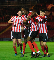 Lincoln City U18's Duncan Idehen, second in from left, celebrates scoring the opening goal with team-mate Jordan Adebayo-Smith<br /> <br /> Photographer Chris Vaughan/CameraSport<br /> <br /> The FA Youth Cup Second Round - Lincoln City U18 v South Shields U18 - Tuesday 13th November 2018 - Sincil Bank - Lincoln<br />  <br /> World Copyright © 2018 CameraSport. All rights reserved. 43 Linden Ave. Countesthorpe. Leicester. England. LE8 5PG - Tel: +44 (0) 116 277 4147 - admin@camerasport.com - www.camerasport.com