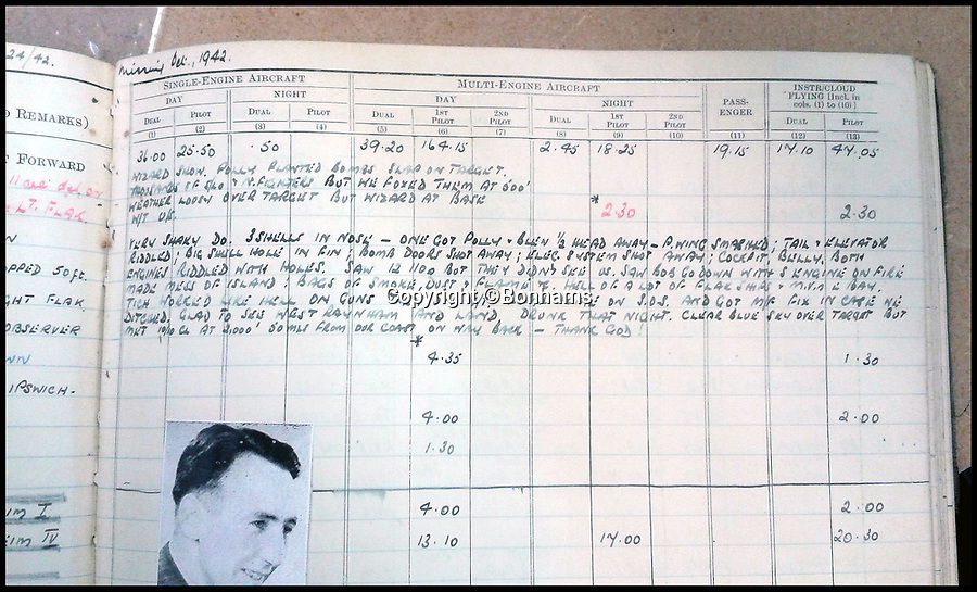 BNPS.co.uk (01202 558833)Pic: Bonhams/BNPS<br /> <br /> The near-miss at Heligoland. This log describes how Wolstenholme was almost killed.<br /> <br /> The bravery medals and logbooks of Kenneth Wolstenholme have emerged for sale which reveal it was almost 'all over' for the legendary commentator 25 years before he said the immortal line during the 1966 World Cup Final.<br /> <br /> Wolstenholme will always be remembered for leaving his mark on the greatest day in English football history with his commentary of Geoff Hurst's hat-trick goal which sealed England's only World Cup win.<br /> <br /> But he was also an exceptional pilot who flew in 89 raids in the Second World War - another famous victory over Germany.<br /> <br /> However, it has now come to light that he was almost killed during one of his first missions, a raid on Heligoland, a small German archipelago in the North Sea, on May 21, 1941.