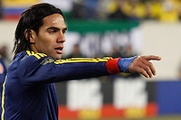 Colombian player Falcao Garcia gives instructions to his team mates  during their friendly match against Brazil at MetLife Stadium in East Rutherford New Jersey, November 14, 2012. Photo by Eduardo Munoz Alvarez / VIEWpress.