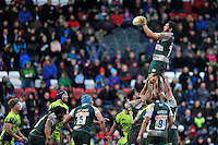 Dom Barrow of Leicester Tigers wins the ball at a lineout. Aviva Premiership match, between Leicester Tigers and Sale Sharks on February 6, 2016 at Welford Road in Leicester, England. Photo by: Patrick Khachfe / JMP