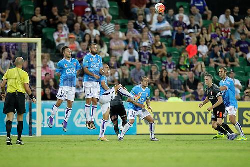 20.02.2016, Perth, Australia. Hyundai A-League, Perth Glory versus Brisbane Roar. Perth Glory defend a free kick. Perth Glory defeated Brisbane Roar 6-3.