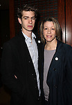 Andrew Garfield & Linda Emond.Behind the Scenes at the 2012 Tony Award-Meet The Nominees Press Reception at Millennium Broadway Hotel on May 2, 2012 in New York City. © Walter McBride/WM Photography .