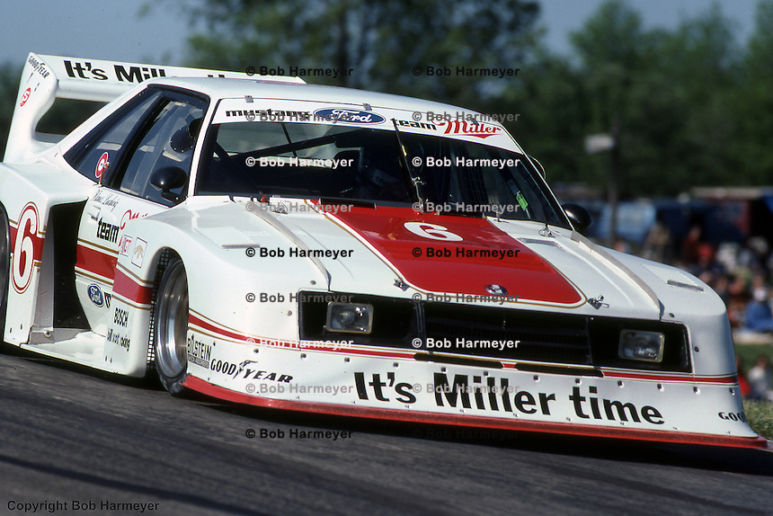 Klaus Ludwig drives the Ford Mustang Turbo during a 1981 IMSA race at Mid-Ohio Sports Car Course near Lexington, Ohio.