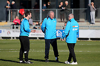 Woking's Coaching Team, Ian Dyer (left) Assistant Manager, Martin Tyler (centre) Assistant Manager and Alan Dowson (right) Manager during Dartford vs Woking, Vanarama National League South Football at Princes Park on 23rd February 2019
