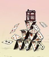 House on top of collapsing house of cards