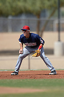 Cleveland Indians third baseman Grant Fink (23) during an Instructional League game against the Kansas City Royals on October 9, 2013 at Surprise Stadium Training Complex in Surprise, Arizona.  (Mike Janes/Four Seam Images)