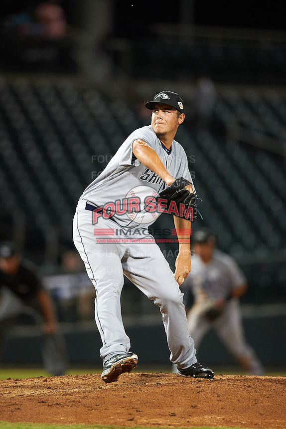Peoria Javelinas pitcher Brad Wieck (55), of the San Diego Padres organization, during a game against the Mesa Solar Sox on October 15, 2016 at Sloan Park in Mesa, Arizona.  Peoria defeated Mesa 12-2.  (Mike Janes/Four Seam Images)