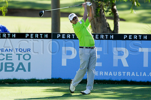 26.02.2016. Perth, Australia. ISPS HANDA Perth International Golf. Adilson da Silva (BRA) plays of the 13 tee during day 2.