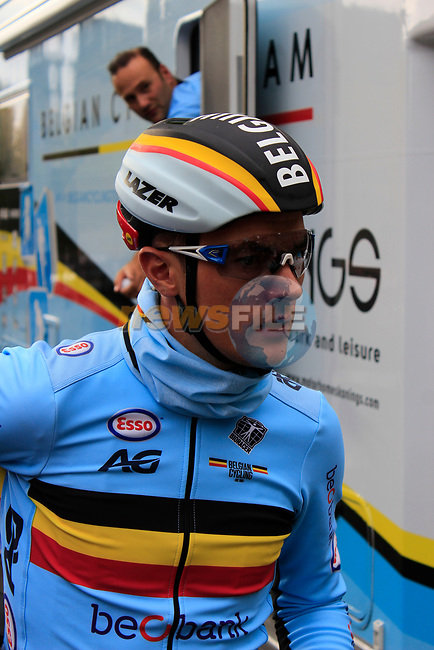 Yves Lampaert (BEL) after finishing his run during the Men Elite Individual Time Trial of the UCI World Championships 2019 running 54km from Northallerton to Harrogate, England. 25th September 2019.<br /> Picture: Andy Brady | Cyclefile<br /> <br /> All photos usage must carry mandatory copyright credit (© Cyclefile | Andy Brady)