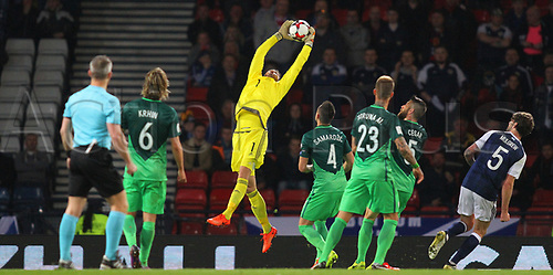 March 26th 2017, Hampden Park, Glasgow, Scotland; World Cup 2018 qualification football, Scotland versus Slovenia;  Craig Gordon comes for the high crossed ball