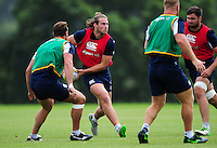 Max Clark of Bath Rugby looks to pass the ball. Bath Rugby pre-season training session on August 9, 2016 at Farleigh House in Bath, England. Photo by: Patrick Khachfe / Onside Images