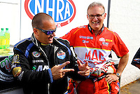 Aug. 18, 2013; Brainerd, MN, USA: NHRA top fuel dragster driver Brandon Bernstein (left) with Doug Kalitta during the Lucas Oil Nationals at Brainerd International Raceway. Mandatory Credit: Mark J. Rebilas-