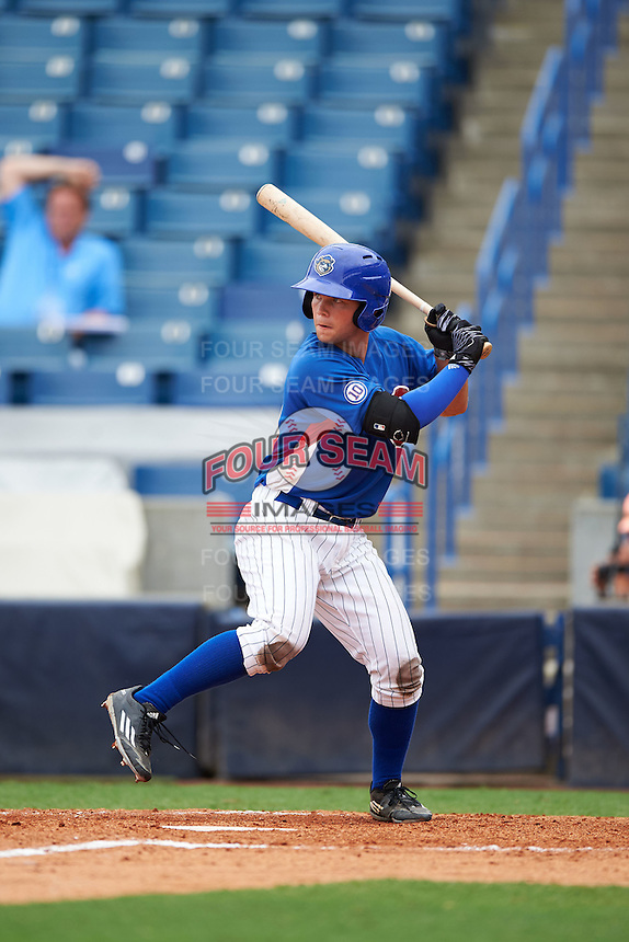 Ty Duvall (20) of Lebanon High School in Lebanon, Ohio playing for the Chicago Cubs scout team during the East Coast Pro Showcase on July 28, 2015 at George M. Steinbrenner Field in Tampa, Florida.  (Mike Janes/Four Seam Images)
