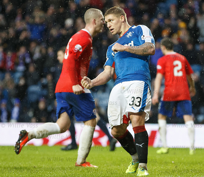Martyn Waghorn celebrates his hat-trick