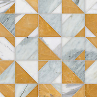 Axel, a hand-cut stone mosaic, shown in polished Cirrus, Calacatta Gold, and Xanadu, is part of the Semplice™ collection for New Ravenna.