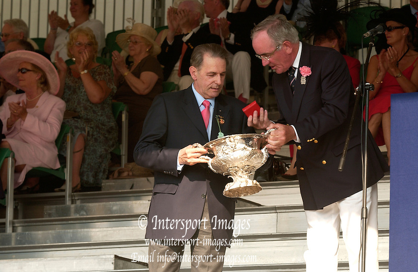 Henley Royal Regatta. Henley-on-Thames,  ENGLAND, Sunday, 02.07.2006. 2006 Prize giver, Jacques  ROGGE, Regatta Chairman Mike SWEENEY,  Photo  Peter Spurrier/Intersport Images. email images@intersport-images.com... Henley Royal Regatta, Rowing Courses, Henley Reach, Henley, ENGLAND [Mandatory credit; Peter Spurrier/Intersport Images] 2006 . HRR.