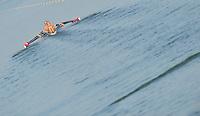 Brest, Belarus.  USA W4X. Bow. Helen TOMPKINS,  Nicole LIELAWSKI, Desiree BURNS and Emily DREISSIGACKER, at the start, 2010. FISA U23 Championships. Friday,  23/07/2010.  [Mandatory Credit Peter Spurrier/ Intersport Images]