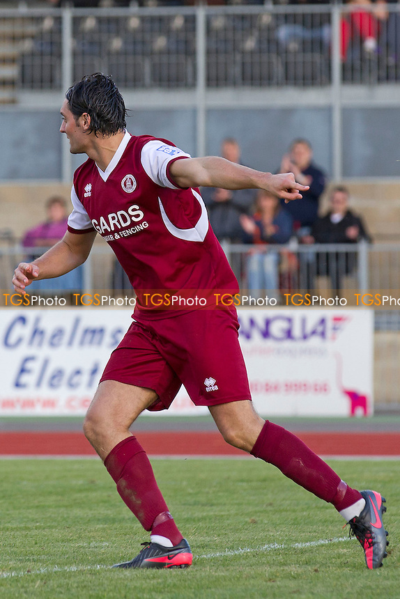 Jamie Slabber turns to celebrate his opening goal for City - Chelmsford City vs Truro City - Blue Square Conference Football at Melbourne Park, Chelmsford, Essex - 29/09/12 - MANDATORY CREDIT: Ray Lawrence/TGSPHOTO - Self billing applies where appropriate - 0845 094 6026 - contact@tgsphoto.co.uk - NO UNPAID USE.