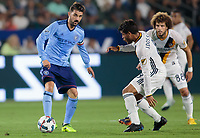 Carson, CA - Saturday August 12, 2017: David Villa, Jonathan dos Santos during a Major League Soccer (MLS) game between the Los Angeles Galaxy and the New York City FC at StubHub Center.