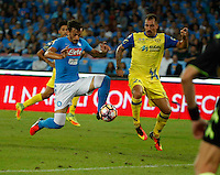 Manolo Gabbiadini during the  italian serie a soccer match,between SSC Napoli and AC Chievo       at  the San  Paolo   stadium in Naples  Italy , September 25, 2016