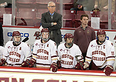 Austin Cangelosi (BC - 9), Ryan Fitzgerald (BC - 19), Jerry York (BC - Head Coach), Matthew Gaudreau (BC - 21), Brian Hurley (BC - Student Manager), Chris Calnan (BC - 11) - The visiting Merrimack College Warriors defeated the Boston College Eagles 6 - 3 (EN) on Friday, February 10, 2017, at Kelley Rink in Conte Forum in Chestnut Hill, Massachusetts.