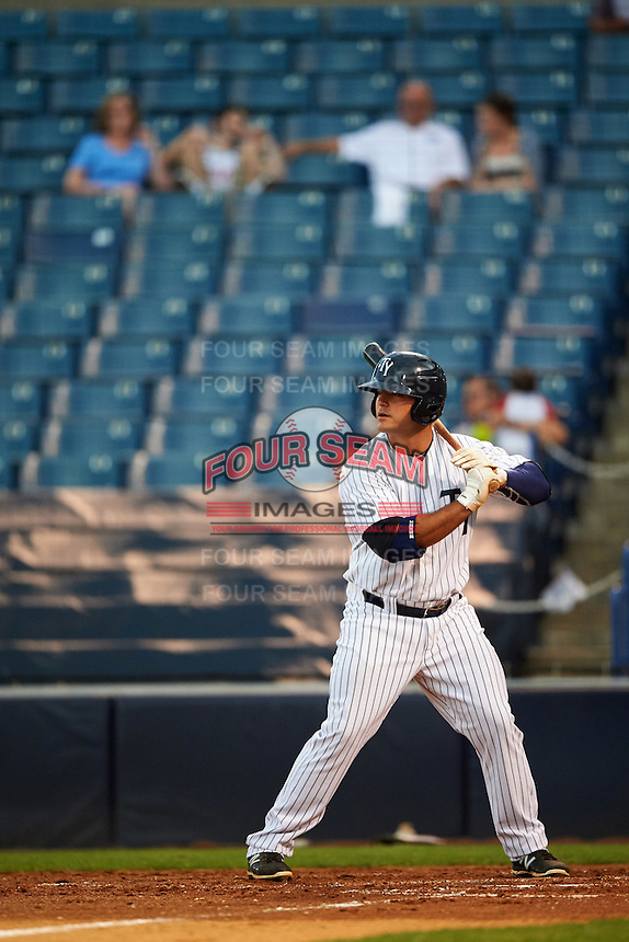 Tampa Yankees first baseman Mike Ford (25) at bat during a game against the Bradenton Marauders on April 11, 2016 at George M. Steinbrenner Field in Tampa, Florida.  Tampa defeated Bradenton 5-2.  (Mike Janes/Four Seam Images)