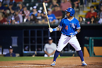 Oklahoma City Dodgers second baseman Willie Calhoun (4) at bat during a game against the Colorado Springs Sky Sox on June 2, 2017 at Chickasaw Bricktown Ballpark in Oklahoma City, Oklahoma.  Colorado Springs defeated Oklahoma City 1-0 in ten innings.  (Mike Janes/Four Seam Images)