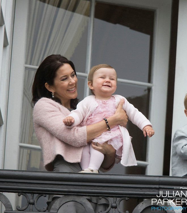 Crown Princess Mary of Denmark and her daughter Princess Isabella on the Balcony of Amalienborg Palace in Copenhagen to celebrate Crown Prince Frederik's 40th Birthday.