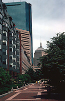 Boston:  Back Bay--Southwest Corridor Park continues. ( Here it parallels Carleton St.)  To West Canton on left--new 9 story apartment building; the two Hancocks behind.  Photo '91.