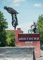 NWA Democrat-Gazette/BEN GOFF @NWABENGOFF<br /> Drake Taylor of Fayetteville jumps Saturday, July 7, 2018, at a Southern BMX Stunt Show performance during The Natural State Criterium Series in downtown Rogers. The third annual series produced by BikeNWA began with races in downtown Bentonville Friday evening. The series concludes Sunday in downtown Springdale with the first event starting at 8:50 a.m. and the final event starting at 4:00 p.m.
