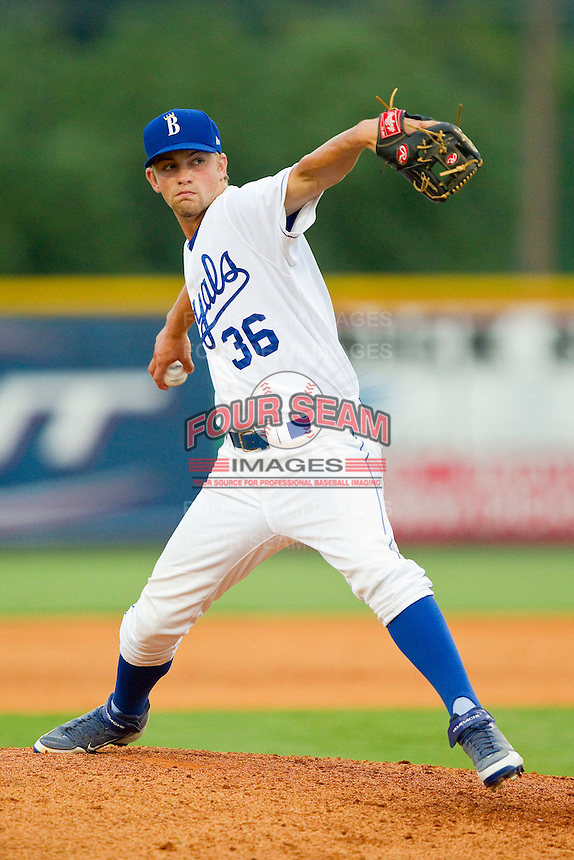 Burlington Royals relief pitcher Lincoln Rassi (36) in action against the Danville Braves at Burlington Athletic Park on July 18, 2012 in Burlington, North Carolina.  The Royals defeated the Braves 4-3 in 11 innings.  (Brian Westerholt/Four Seam Images)