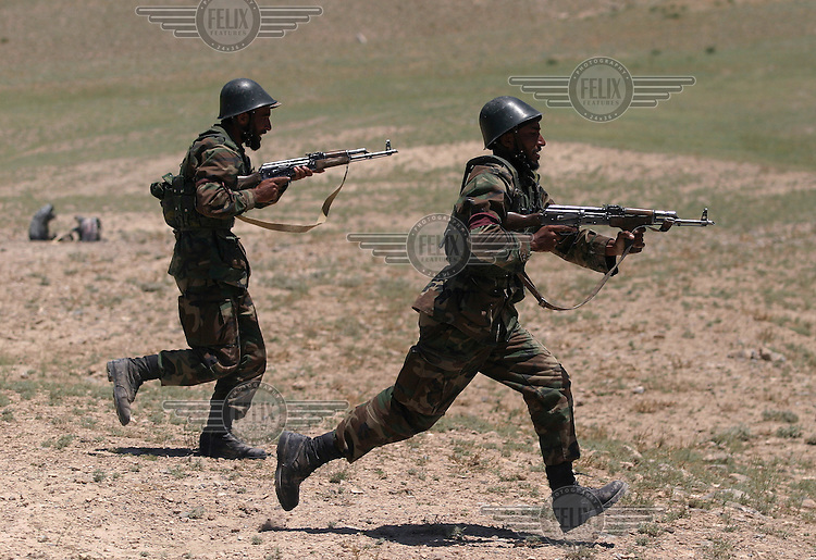 Afghan National Army (ANA) troops in training just outside Kabul. The soldiers are taught by Afghan and foreign instructors.