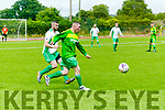Mitchel's Brendan Coffey and Tralee's Derek O'Connor in the Denny Division 1a League final Mitchels Avenue FC Vs Tralee Celtic FC at Mounthawk Park on Sunday
