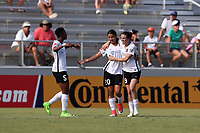 Cary, North Carolina  - Saturday July 01, 2017: Samantha Kerr celebrates her goal with Kelley O'Hara and Maya Hayes during a regular season National Women's Soccer League (NWSL) match between the North Carolina Courage and the Sky Blue FC at Sahlen's Stadium at WakeMed Soccer Park.